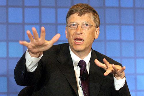 Bill Gates echando maleficio a los usuarios de Linux (Michigan 1998).